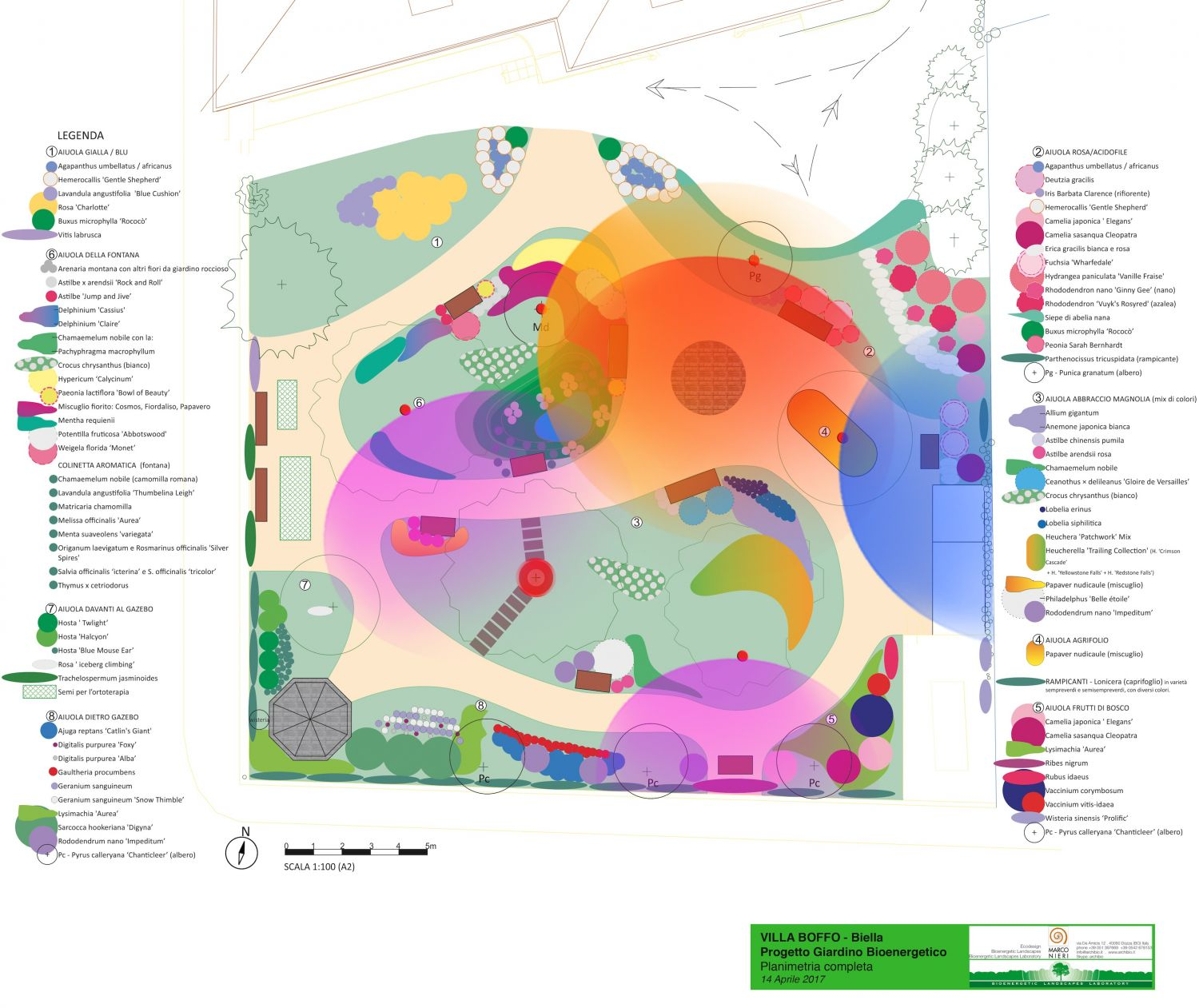 layout of the bioenergetic garden for Alzheimer of Villa Boffo